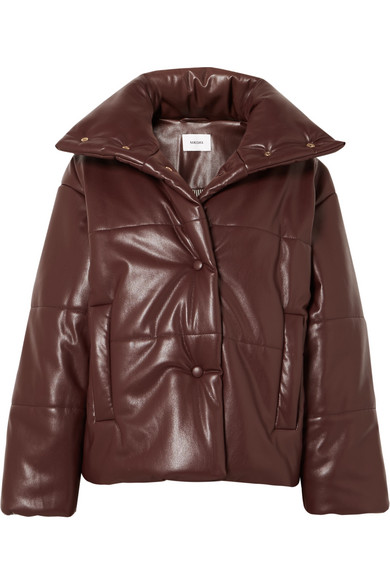 NANUSHKA Hide Oversized Quilted Vegan Leather Jacket in Plum