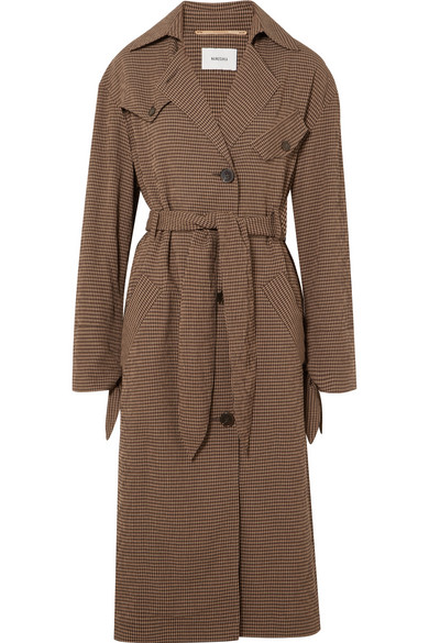 Gingham Woven Trench Coat in Brown