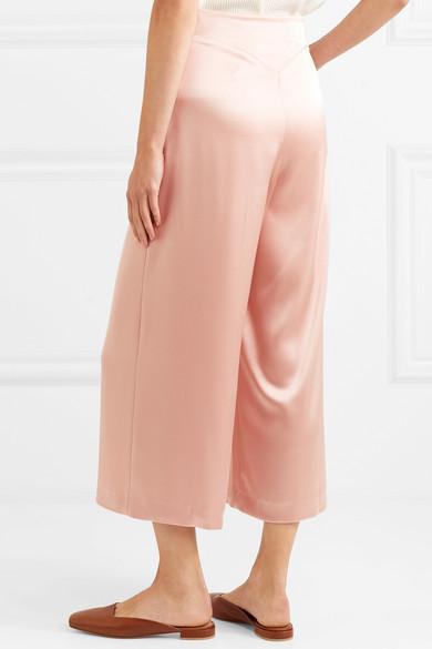 Pura Cropped Satin Wide-leg Pants - Blush Nanushka oMrcB