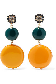 Marni Gold-tone, resin and crystal earrings