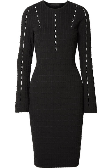 NARCISO RODRIGUEZ CUTOUT RIBBED STRETCH-KNIT DRESS