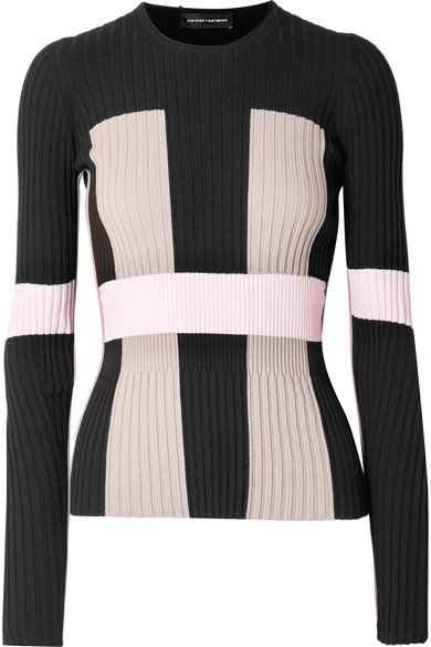 NARCISO RODRIGUEZ COLOR-BLOCK RIBBED STRETCH-KNIT SWEATER