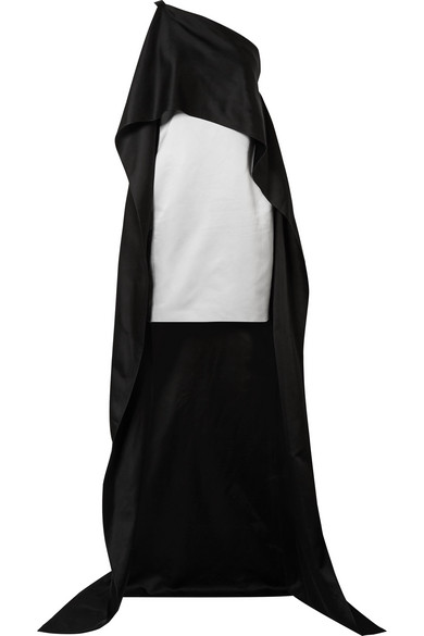 NARCISO RODRIGUEZ Asymmetric cape-effect silk-charmeuse dress