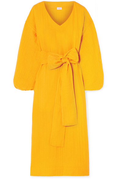 RHODE RESORT Delilah Crinkled Cotton-Gauze Midi Dress in Yellow