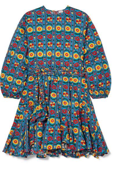 Rhode Resort - Ella Belted Printed Cotton Mini Dress - Blue