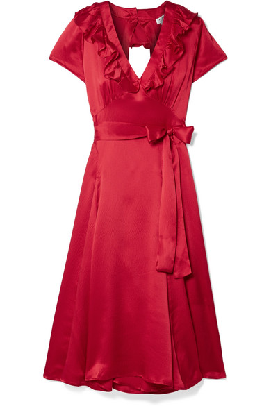 RHODE RESORT Celia Cutout Silk Wrap Dress in Red