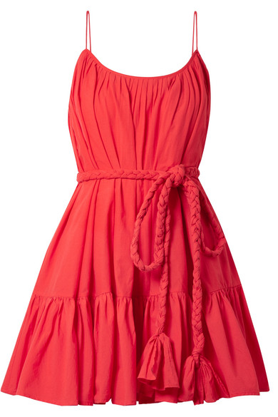 RHODE RESORT Nala Belted Pleated Cotton Mini Dress in Red