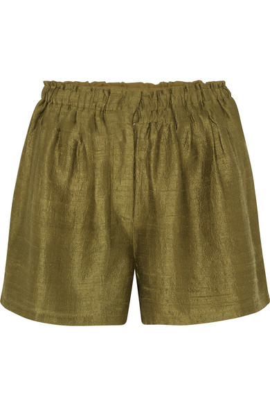 RHODE RESORT Natty Silk-Canvas Shorts in Green