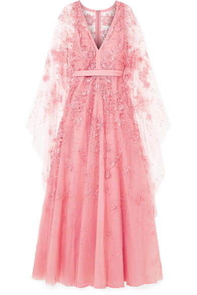 Cape Effect Embellished Tulle Gown by Elie Saab