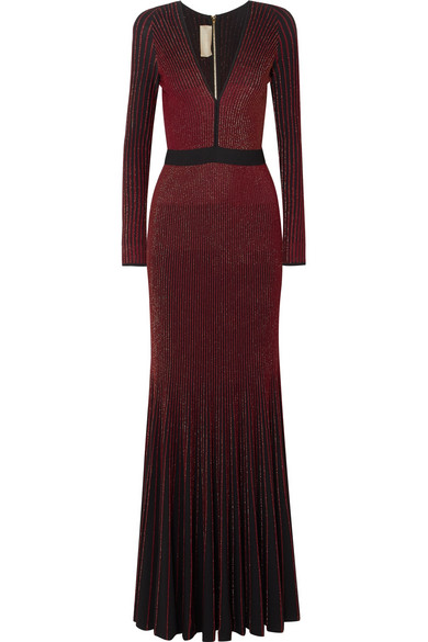 ELIE SAAB METALLIC RIBBED-KNIT GOWN