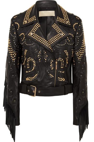 ELIE SAAB Bead-Embellished Fringed Leather Jacket in Black