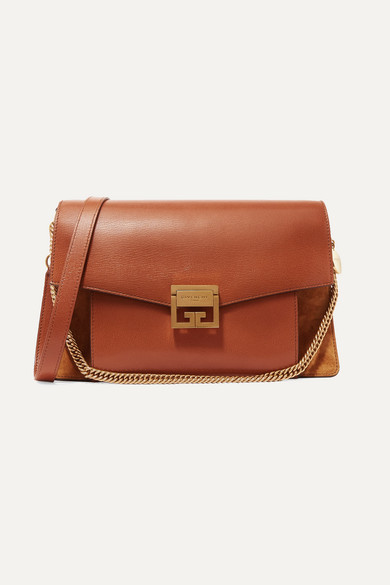 Gv3 Medium Textured Leather And Suede Shoulder Bag by Givenchy