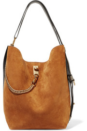 GV Bucket suede and textured-leather shoulder bag