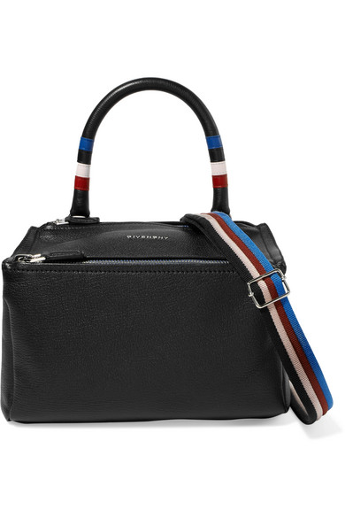 Pandora Striped Textured-Leather Shoulder Bag, Black