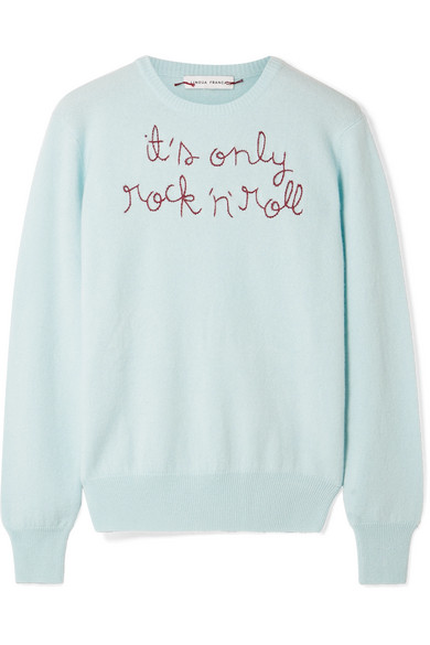 LINGUA FRANCA It's Only Rock 'n' Roll embroidered cashmere sweater