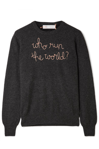 LINGUA FRANCA Who Run the World embroidered cashmere sweater