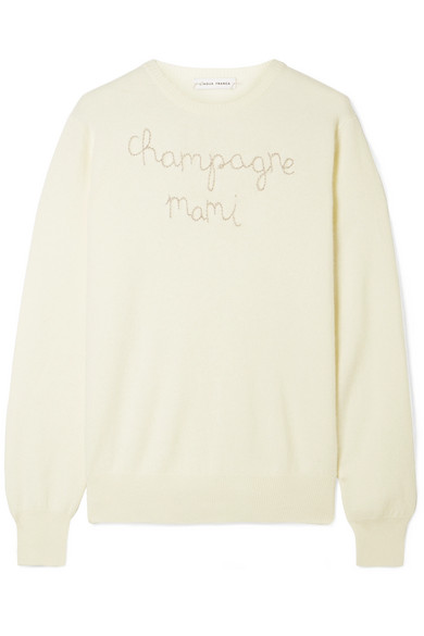 LINGUA FRANCA Champagne Mami embroidered cashmere sweater