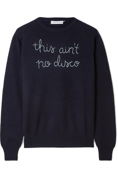 LINGUA FRANCA This Ain't No Disco embroidered cashmere sweater