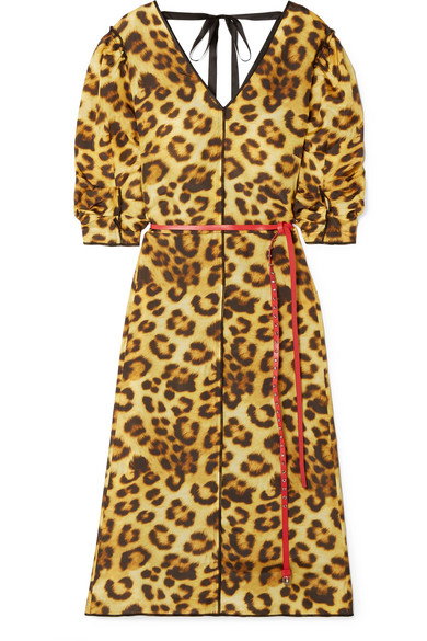 Marc Jacobs - Belted Leopard-print Taffeta Dress - Leopard print