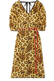 Belted leopard-print taffeta dress