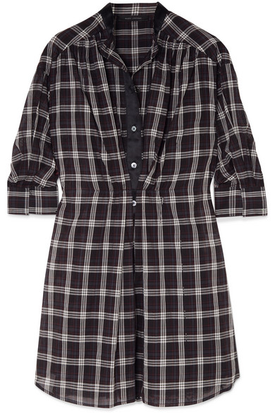 Long-Sleeve Button-Down Plaid Cotton Dress in Black