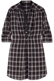 Marc Jacobs Satin-trimmed checked silk-voile dress