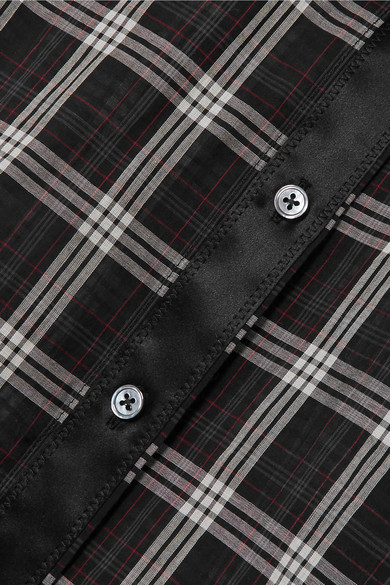 Marc Jacobs Shirts Satin-trimmed checked cotton shirt