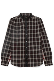 Marc Jacobs Satin-trimmed checked cotton shirt