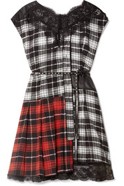 Marc Jacobs Lace-trimmed plaid silk-chiffon and shell mini dress