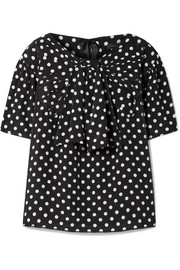 Polka-dot silk-georgette blouse