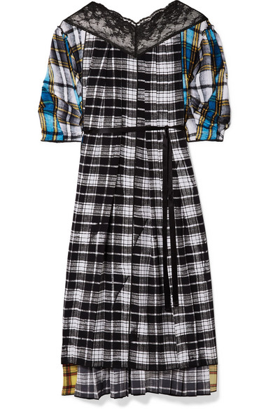 Lace-Trimmed Pleated Plaid-Print Voile Midi Dress in Black