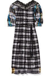 Marc Jacobs Lace-paneled plaid silk-voile midi dress
