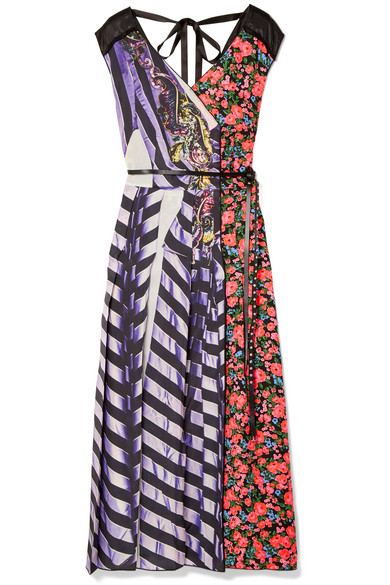 Tulle-trimmed printed shell and satin-twill midi dress from NET-A-PORTER