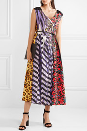 Tulle-trimmed printed shell and satin-twill midi dress