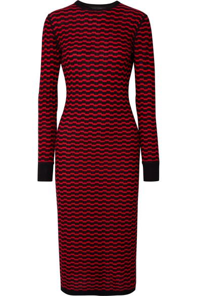 Zigzag Stripe Merino Wool Dress, Black/ Red