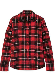 Plaid silk crepe de chine shirt