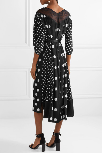 25a29dc1270c Marc Jacobs. Lace-trimmed pleated polka-dot silk crepe de chine midi dress.  £692.94. Seasonal pick. Play