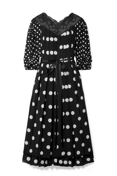 796bcaf6b4c2 Marc Jacobs | Lace-trimmed pleated polka-dot silk crepe de chine ...