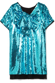 Marc Jacobs Satin-paneled sequined georgette mini dress
