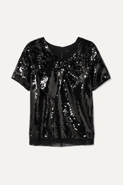 Marc Jacobs Satin-paneled sequined georgette top