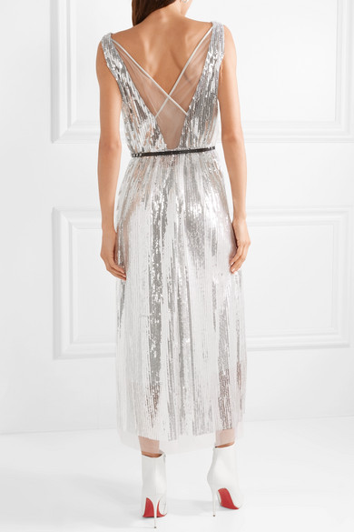 Sequined Silk-crepe Midi Dress - Silver Marc Jacobs TY5yTOKr