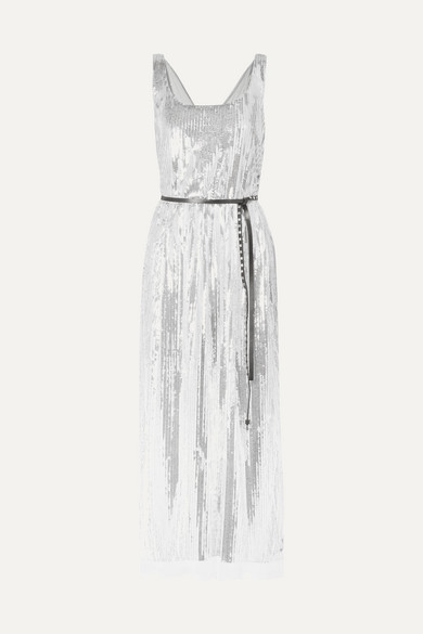 Marc Jacobs Scoop-Neck Sleeveless Mirrored-Sequins Belted Cocktail Dress In  Silver b736d217a