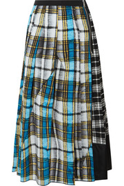 Marc Jacobs Patchwork plaid silk crepe de chine skirt
