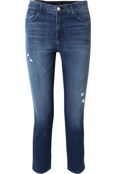 Ruby Cropped Distressed High-Rise Slim-Leg Jeans in Mid Denim