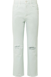 J Brand Wynne distressed high-rise straight-leg jeans