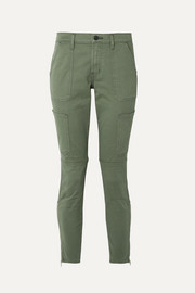 J Brand Cropped stretch cotton-blend twill skinny pants