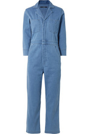 Cropped denim jumpsuit
