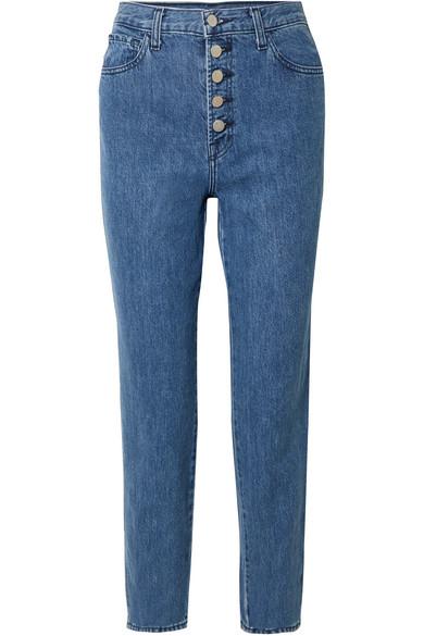 Heather Cropped High-rise Straight-leg Jeans - Mid denim J Brand ti3ptRuwyb