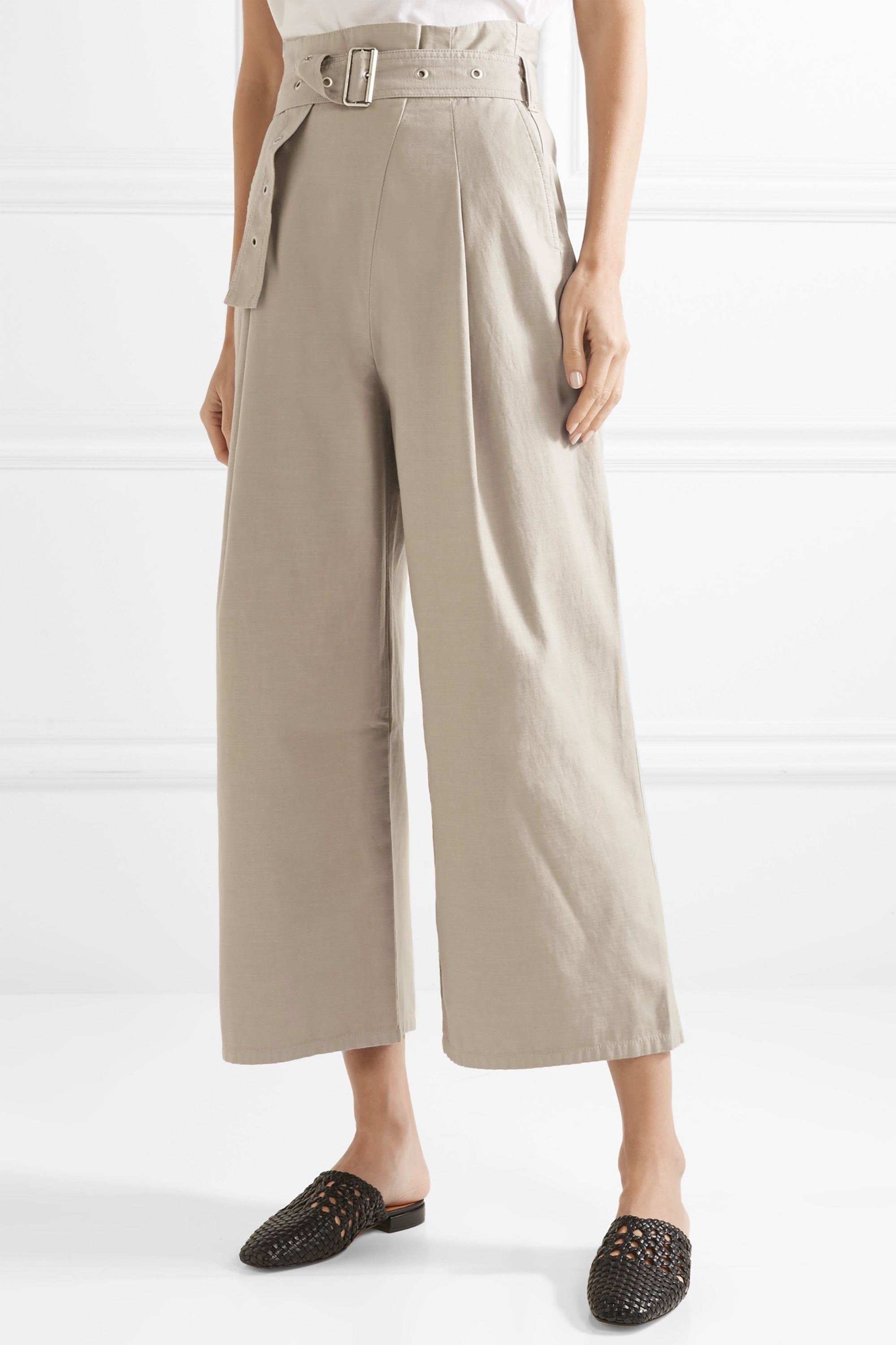 J Brand Via cropped belted cotton-blend canvas pants
