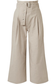 Via cropped belted cotton-blend canvas pants